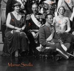 Far left, Princess Cecilie of Prussia wearing the sapphire parure, image courtesy of manue sevilla