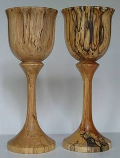 spalted birch wooden goblets