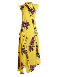 5be65c806068 Lily-print asymmetric silk-crepe dress