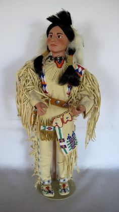 """Native American Indian 19"""" Figure wBeaded Leather Ceremonial Garb Doll Figurine  #NativeAmericanFigure"""