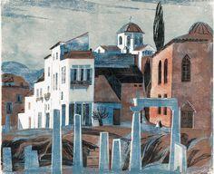 View of Athens - Tuulikki Pietilä , Finnish, 1917 - 2009 Woodcut, 50 x 60 cm. Henri Matisse, Art Nouveau, Printmaking, Europe, Landscape, Architecture, Drawings, Oasis, Modern
