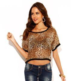 Camiseta blusa mujer manga corta estampada marrón Mujer TJ Venca