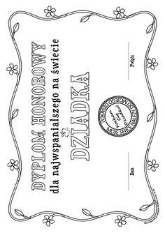 Dyplom dla Dziadka - kolorowanka do wydruku