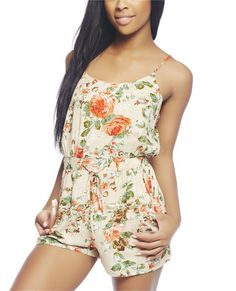 Stay fresh this spring break with this sweet and fun tube romper featuring a floral printed woven body, elasticized bust and waist, self-tie, side pockets, and a pull on construction.