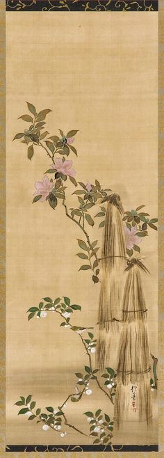Pink and white flowers and straw coverings. Japanese Hanging scroll (mounted on panel). Sakai Hōitsu 酒井抱一 (1761-1828)