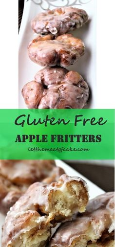 Bear in mind these apple fritters we used to get at bakeries? Those with cinnamon apple chunks intertwined with cobblestones of dough and drenched in a vanilla glaze? These scrumptious gluten free apple fritters Gluten Free Deserts, Gluten Free Donuts, Gluten Free Sweets, Gluten Free Breakfasts, Foods With Gluten, Gluten Free Cooking, Wheat Free Bread, Wheat Free Diet, Wheat Free Recipes