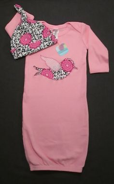 Pink Baby Gown and Hat Set, Newborn Gown, Infant Gown, Going Home Outfit, Baby Shower Gift, Pink and Black Damask Baby