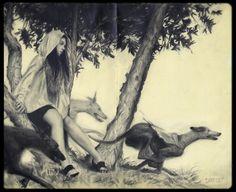 Serf and Greyhounds        8.5 x10        Graphite       Moleskin Show II, Spoke Art Gallery, 2012