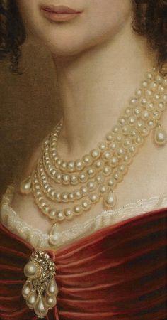 Joseph Karl Stiele, Maria Anna of Bavaria, 1842, detailed pearls