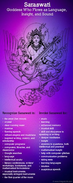 Mythology + Religion: Saraswati, Hindu Goddess Who Flows as Language, Insight, and Sound Wicca, Saraswati Goddess, Deep Meditation, Spiritus, Sacred Feminine, Hindu Deities, Indian Gods, Tantra, Book Of Shadows