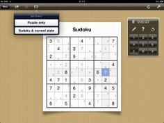 Sudoku Tablet: There are many many sudoku apps out there but this free one is sufficient for most learning purposes