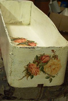 vintage wooden treadle sewing machine drawer salvaged upcycled shabby chic dirty cottage white yellow peach roses  storage home decor