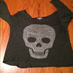 Charlotte rouse sequenced skull top Off the shoulder, mid length sleeves, Size L crop style, soft, summer weight Charlotte Russe Tops