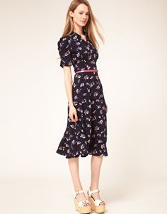 ASOS daisy print dress $80.57. cute. love navy