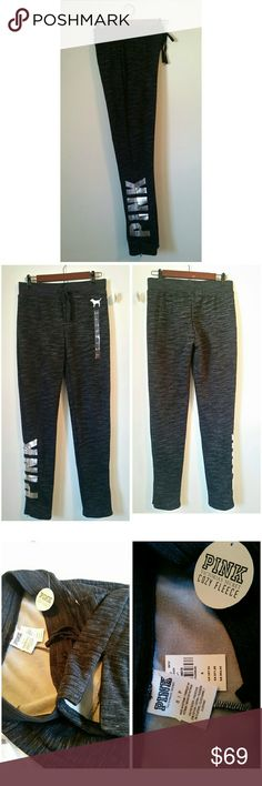 Cozy fleece pants New with tags  Size small  Bottom has zippers hidden  Fleece super soft and warm PINK Victoria's Secret Pants Track Pants & Joggers
