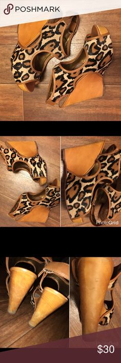Sam Edelman Wedge Sandals Used leather wedge sandals with real fur. Heals have some wear as seen in pictures. Size 6.5 Sam Edelman Shoes Wedges