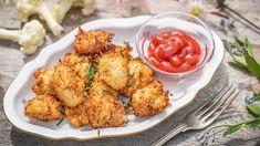 Smažené květákové placičky (krokety) s parmezánem a mandlemi Cauliflower, Dip, Low Carb, Vegetables, Ethnic Recipes, Food, Salsa, Cauliflowers, Essen