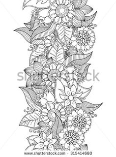 Vector flowers seamless border. Zentangle decorative element.