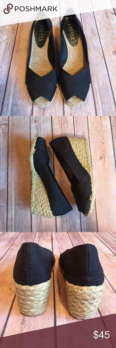 """Lauren Ralph Lauren Cecilia Wedge shoe Lauren Ralph Lauren Cecelia black peep toe wedge heel. Size 7. Excellent condition. Smoke free home. Shantung upper. Textile lining. Heel: 3"""". Lauren Ralph Lauren Shoes Wedges"""