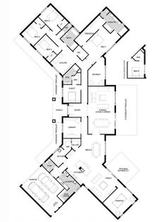 Using An Architect To Create Home Addition Plans New House Plans, Dream House Plans, Modern House Plans, House Floor Plans, U Shaped House Plans, Home Design Floor Plans, Plan Design, Home Addition Plans, Steel Frame House