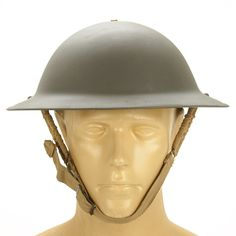 """Original WWII Item: Refurbished British WW2 dated and marked, Brodie (Soup plate) helmet, very similar in style to the US WW1 """"Dough Boy"""" Helmet. Helmets show WW2 Dates between 1940-45 stamped into the steel shell. 