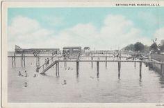 Louisiana La Postcard c1910 MANDEVILLE Bathing Pier Swimmers Slide