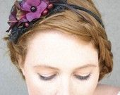 Sexy black lace and plum flower headband by BeSomethingNew on Etsy. $30.00 #wedding #hairaccessories