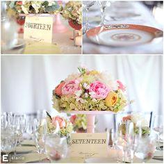 flower centerpieces on cake plate, wedding, green hydrangea, pink peonies, vintage wedding, vintage cake plate, antique china