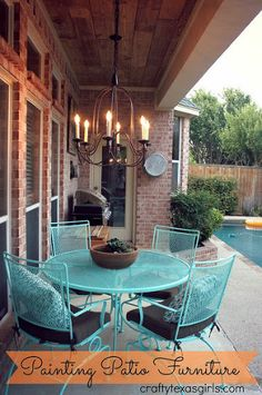 """Painted black patio furniture Valspar """"Simply Aqua"""" and chandelier from Pottery Barn -- DO THIS!!"""