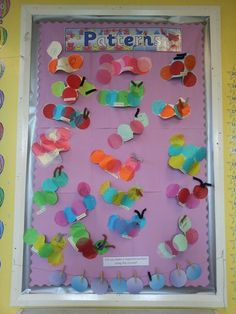 #EYFS #reception #maths #numeracy #patterns #display our repeated pattern caterpillar display in EYFS