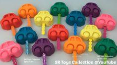 Glitter Play Doh Cars Lollipops with Teddy Halloween Pumpkin Frog Ice Cr...