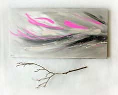 Abstract Painting Pink and Black Modern Art Decor  by ArtbyHeroux, $185.00
