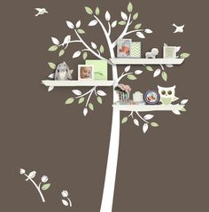 Shelf Tree Decal - Tree Decal With Owl - Children Wall Decal - Nursery Decor - Tree Bookshelf - Tree Silhouette by Lulukuku on Etsy https://www.etsy.com/listing/110607451/shelf-tree-decal-tree-decal-with-owl