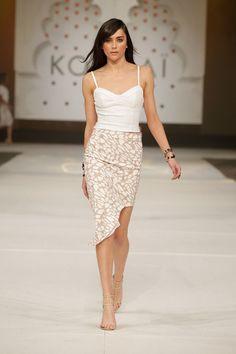 Scuba Crop Bustier, Kenda Skirt Brazillia Heels