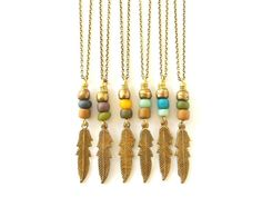 Boho Jewelry Feather Necklace Charm Necklace - Pick Your Color - Bohemian Jewelry Tribal Jewelry Hippie - Brass Feather Pendant Necklace