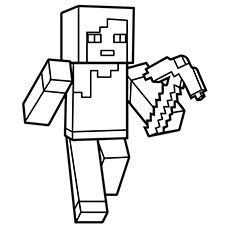 Minecraft Person Holding Sword Coloring Page Colouring Pages