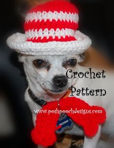 Cat in The Hat ..... Dog Hat and Bow tie   Crochet Pattern        Please, Add This Crochet Pattern to Your   Ravelry Favorites   Cat in The...