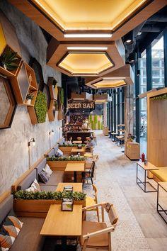 Cafe interior design, coffee shop design и restaurant interior design. Cafe Restaurant, Restaurant Seating, Cafe Seating, Restaurant Ideas, Café Design, Modern Design, Table Design, Design Ideas, Design Shop
