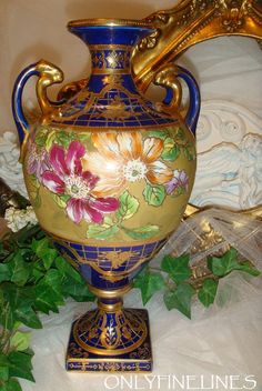 Nippon - Japan - Noritake - Bolted Urn - Vase - Cobalt - Gold - Maple Leaf Hallmark
