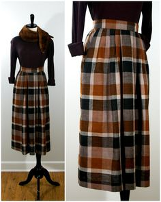 Brown Plaid Skirt, Vintage 80s Lesley Brook Pleated Winter Plaid Skirt  This skirt is just waiting for a great pair of boots! It features....