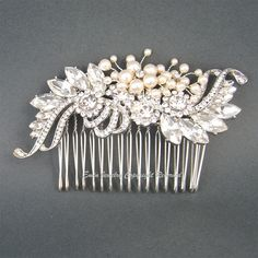 Vintage Wedding Hair Comb, Bridal Hair Accessories, Art Deco Ivory Swarovski Pearls Crystal Rhinestone Silver Bridal Combs Fascinator H1026