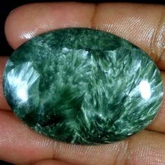 73.40Cts. 100% NATURAL GORGEOUS GREEN SERAPHINITE OVAL CABOCHON LOOSE GEMSTONES