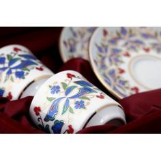 Hand Decorated Luxury Turkish Coffee Cup Set for Two in a Velvet Box