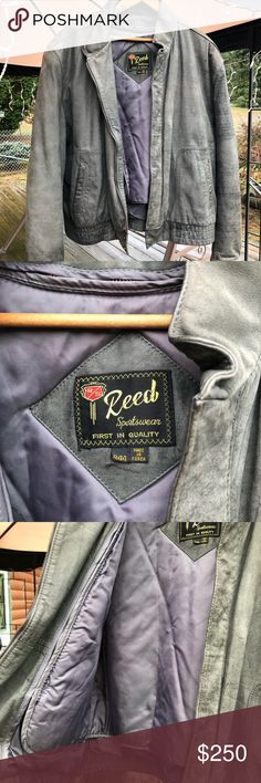 Reed sportswear leather jacket Brand is Reed sportswear...size is r44! The color of the leather is a light grey and has a nice liner in this coat The coat itself is vintage Reed Sportswear Jackets & Coats Pea Coats