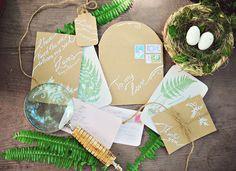 woodland wedding invitations, photo by Arina B Photography http://ruffledblog.com/greenery-filled-wedding-ideas #weddinginvitations #stationery