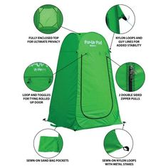 GigaTent Portable Pop Up Changing Room Green-ST002 - The Home Depot Camping With Kids, Tent Camping, Camping Ideas, Camping Potty, Minivan Camping, Camping 101, Truck Camping, Camping Chairs, Beach Camping