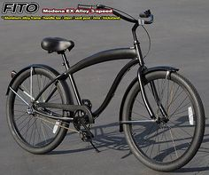 "Aluminum Frame,Fito Modena EX Alloy 3-speed 26"" Beach Cruiser Bike men almblk"