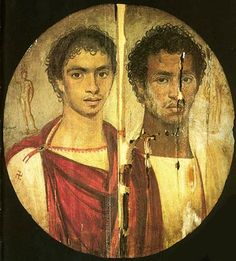 Distemper painting on wooden panel of Two brothers, from the Fayum, Egypt. 2nd c. A.D. (Cairo: Egyptian Museum). Portrait painting arises from the mummy portrait tradition in Egypt, but removed from context because of an association with the Roman portrait busts. While most examples are from the Fayum in Egypt, we assume that this is perhaps typical of portrait painting elsewhere and still Graeco-Roman in its aesthetic. ..encaustic painting.  Date	2nd century