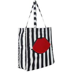 Lulu Guinness Red Lips Stripe Foldaway Shopper Bag, Multi ($41) ❤ liked on Polyvore featuring bags, handbags, tote bags, shopper tote, red tote bag, shopping tote bags, white tote and striped tote bag