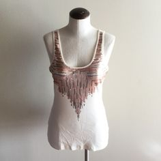 Sequin Tank Top Cream tank top with rose gold and gold sequin detail Express Tops Tank Tops